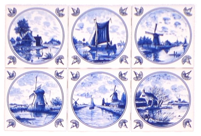Delft kiln fired ceramic tiles blue wind mill ships dutch for Delft tile mural
