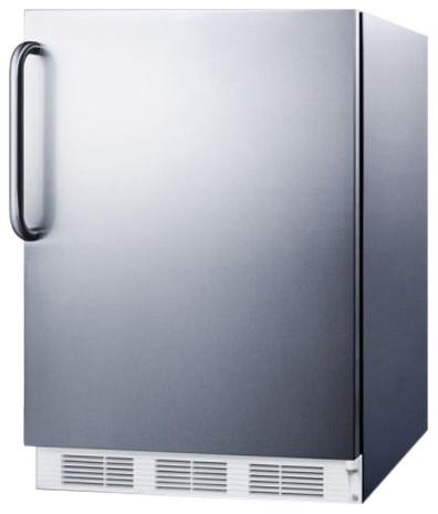 Built-In Undercounter Refrigerator Freezer, Stainless Steel.
