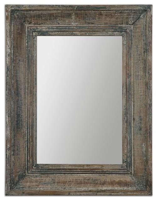 Missoula Distressed Blue Green Rectangular Mirror.