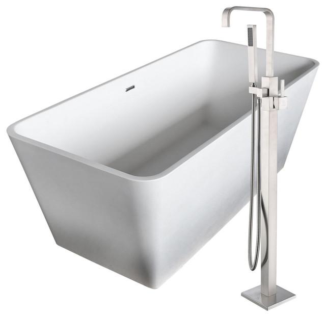 "Cenere 58.25"" Man-Made Stone Flatbottom Bathtub, Victoria Faucet, Brushed Nickel."