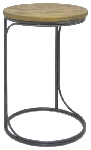 Three Hands Metal Wood Accent Table