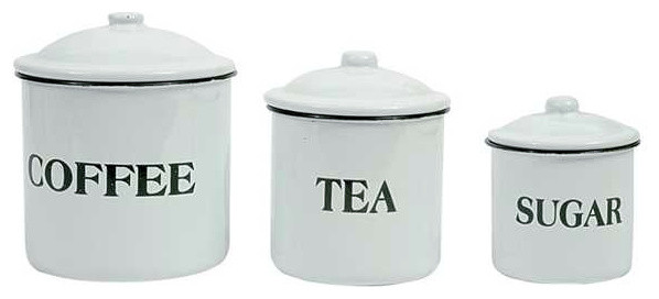 Enamel Farmhouse Canisters - Farmhouse - Kitchen Canisters And ...