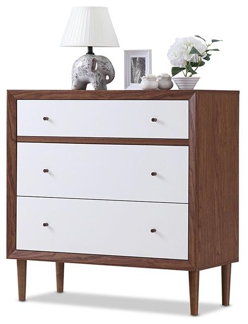 Mid-Century Modern Dresser, MDF, 3-Drawer, White and Walnut Finish