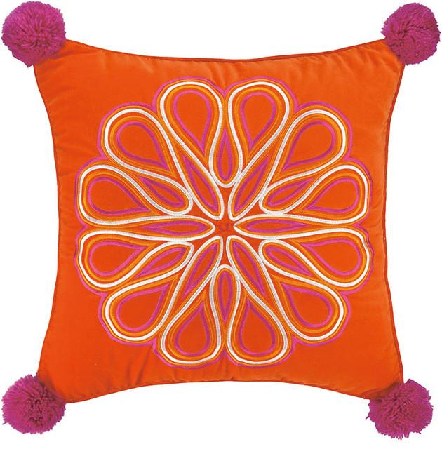 Decorative Pillows Trina Turk : Trina Turk Carillo Pillow, Orange - Contemporary - Decorative Pillows - by Peking Handicraft, Inc.