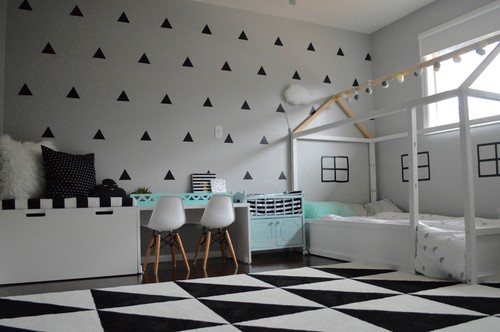 Monochrome graphic toddler room