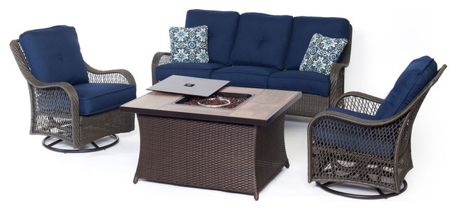 4-Piece Woven Lounge Set With Fire Pit Table, Navy Blue, 4pcfp-Nvy-A.