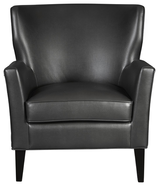 Modern Style Charcoal Gray Faux Leather Accent Arm Chair by HomeFare