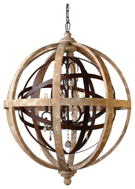 Iron And Wood Open Work Globe With Crystal Accents Farmhouse Chandeliers By Moti