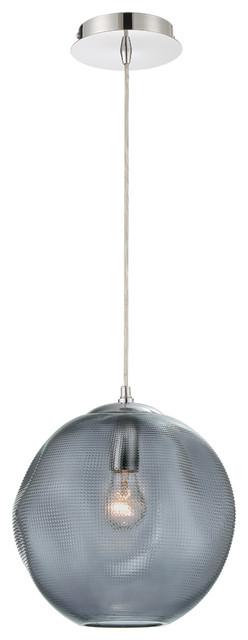 Della Large Round Glass Pendant in Smoke
