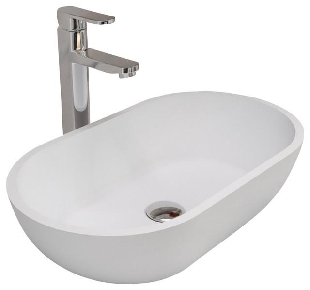 ADM White Countertop Stone Resin Sink Contemporary Bathroom. Countertop Sink   emmolo com