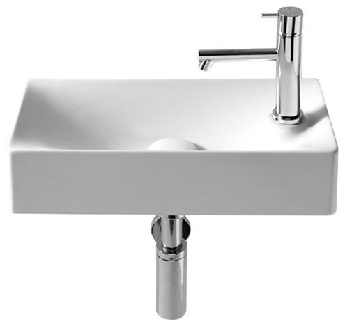 Rectangular Small White Ceramic Wall Mounted Or Vessel Sink, One Hole.