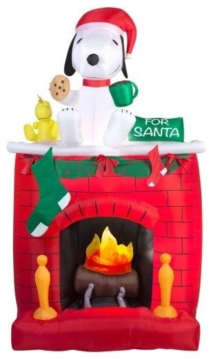 Arett G08 39877X Fire And Ice Snoopy On Fireplace Scene Decor