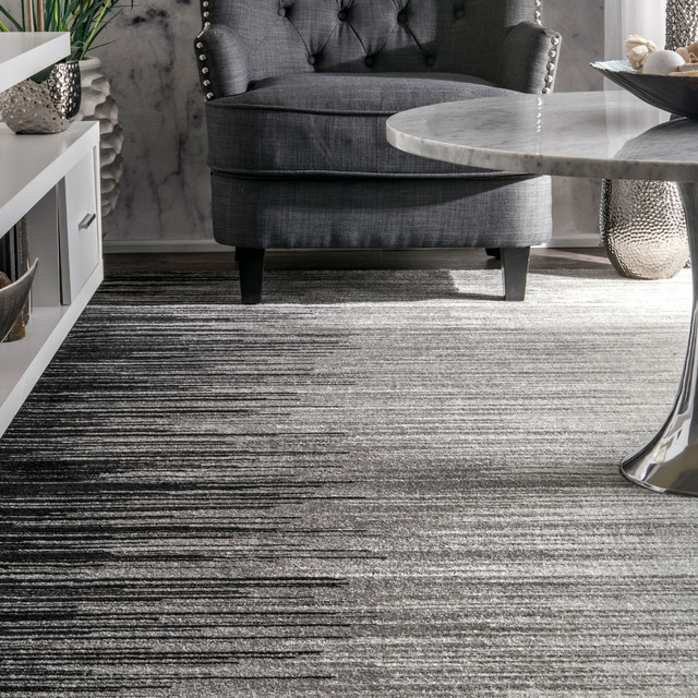 """Electricity Ombre Rug, Black, 5'x7'5"""""""