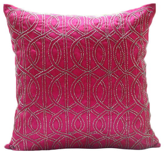 "Pink Art Silk 12""x12"" Lattice Trellis Pillows Cover, Fuchsia N Silver."