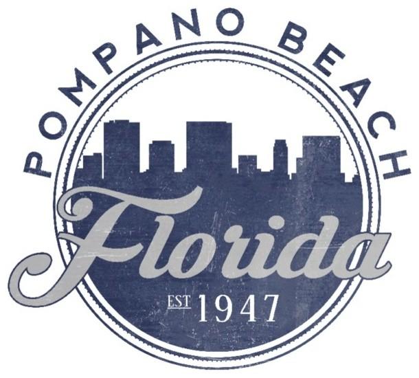 Quot Pompano Beach Florida Skyline Seal Blue Quot Print