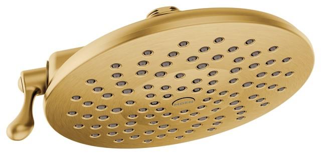 "Moen Velocity Brushed Gold 2-Function 8"" DIA Spray Head Rainshower"