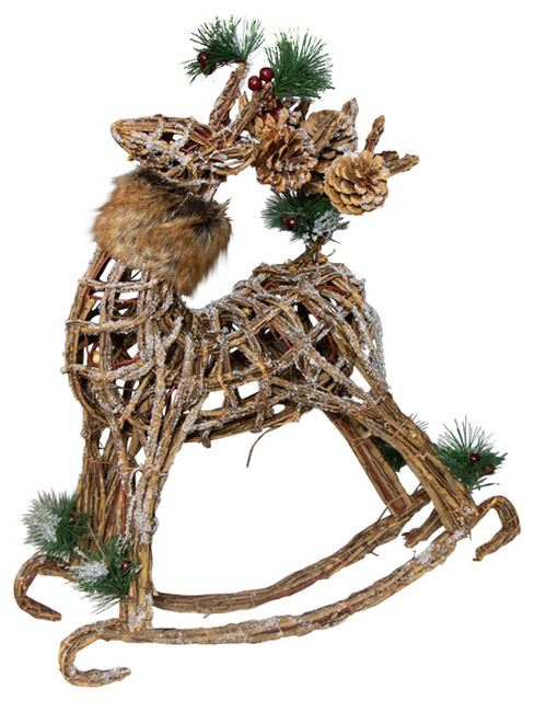 Wicker Rocking Reindeer Christmas Ornament - Traditional - Holiday Accents And Figurines - by Melody Maison