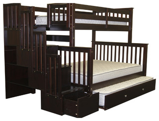 Bunk Beds Twin over Full Stairway Cappuccino and Trundle