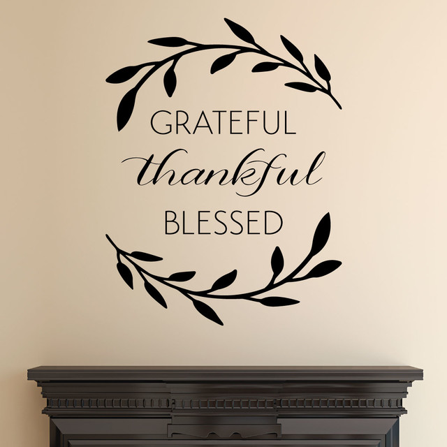 grateful thankful blessed wreath entryway wall quotes vinyl wall