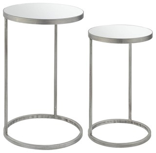 2-Piece Round Nesting Table Set, Silver