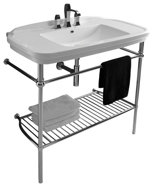 Nova Washstand In Ceramic White 39 4 Contemporary