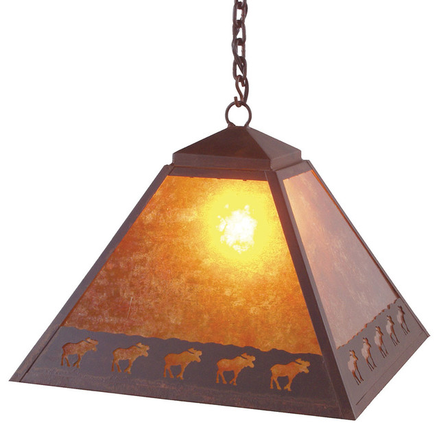 Swag band of moose rustic pendant lighting by for Houzz rustic lighting