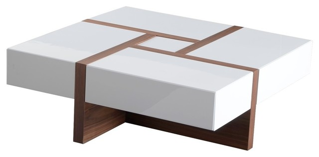 Magnificent Modrest Makai Modern White And Walnut Square Coffee Table Caraccident5 Cool Chair Designs And Ideas Caraccident5Info