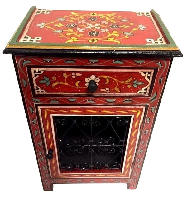 Moroccan Handpainted Nightstand Wood Iron Table Arabic Design Furniture Red Mediterranean Nightstands And Bedside Tables By