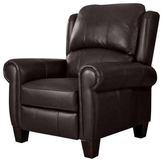 High Quality Top Grain Leather Upholstered Wingback Recliner Club Chair