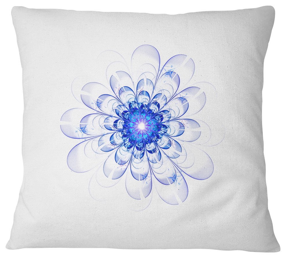 Perfect Glowing Fractal Flower In Blue Floral Throw Pillow Contemporary Decorative Pillows By Design Art Usa Houzz