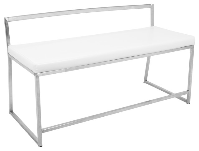 LumiSource Fuji Dining or Entryway Bench, White
