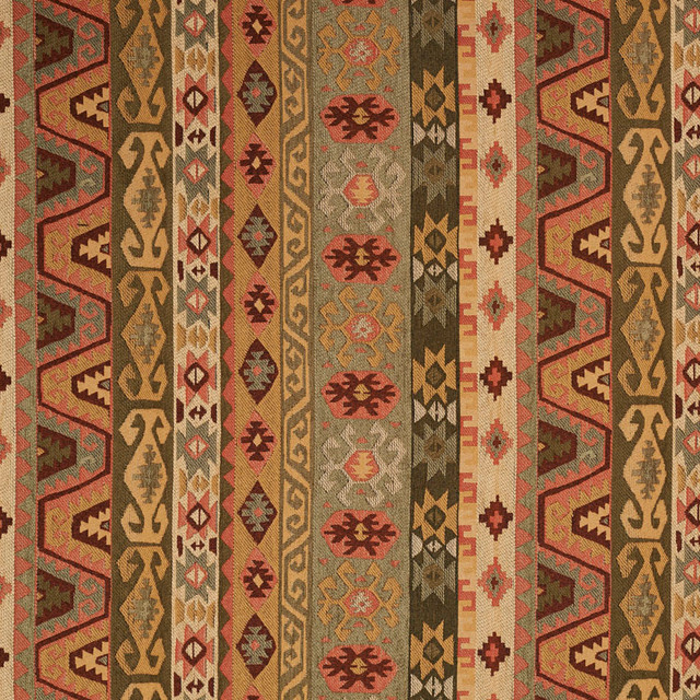Green Gold Red And Beige Striped Southwestern Upholstery Fabric By