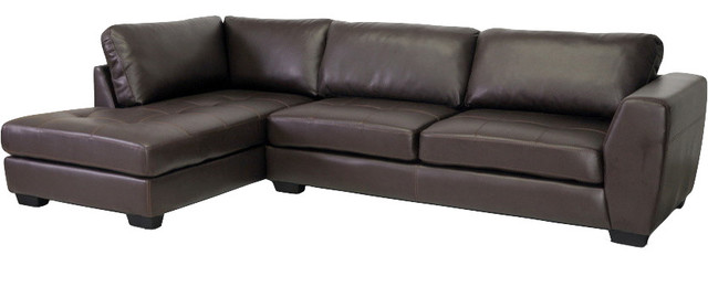 Baxton Studio Orland Leather Modern Sectional Sofa, Brown, Left