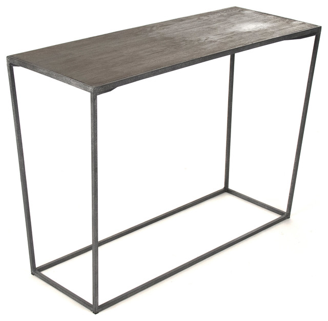 Bleecker Modern Rustic Industrial Gray Steel Reclaimed Oak Console Table  Industrial Console Tables