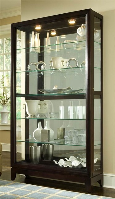 46 in. Curio Cabinet w Two-Way Sliding Door - Traditional ...