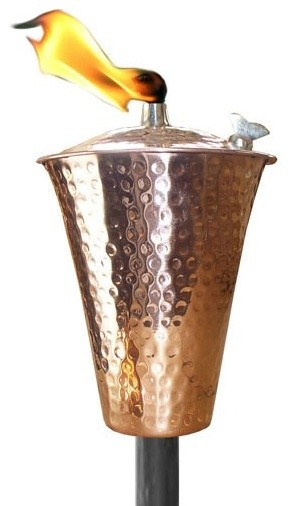 Kona Hammered Copper Tiki Torch With Pole And Snuffer