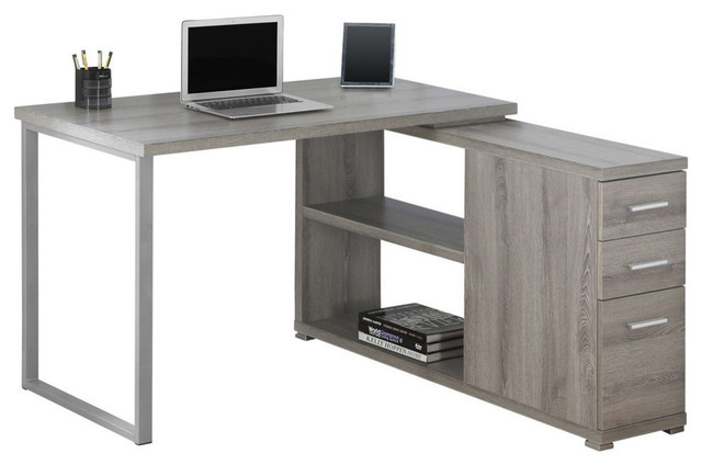 Kyoto Contemporary Computer Desk With Shelf And Drawers, Dark Taupe.