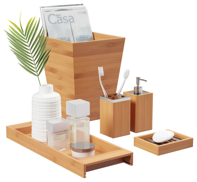 Lavish Home Bamboo Bath Accessories 5 Piece Natural Wooden Set Contemporary Bathroom Accessory Sets By Trademark Global