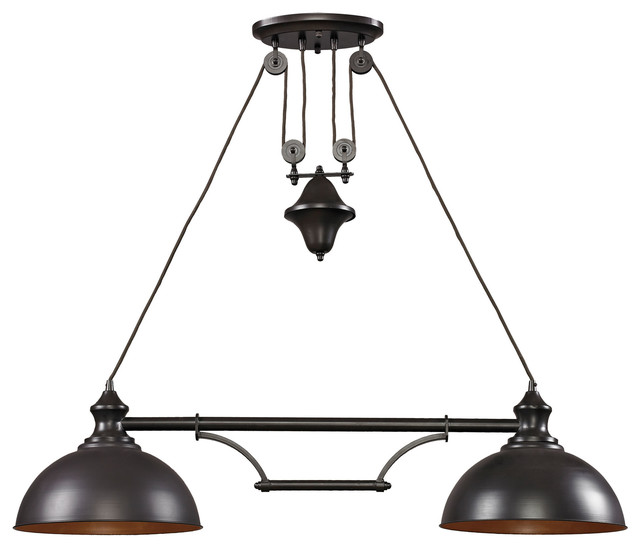 Farmhouse 2 Light Island Oiled Bronze Industrial Kitchen Island Lighting