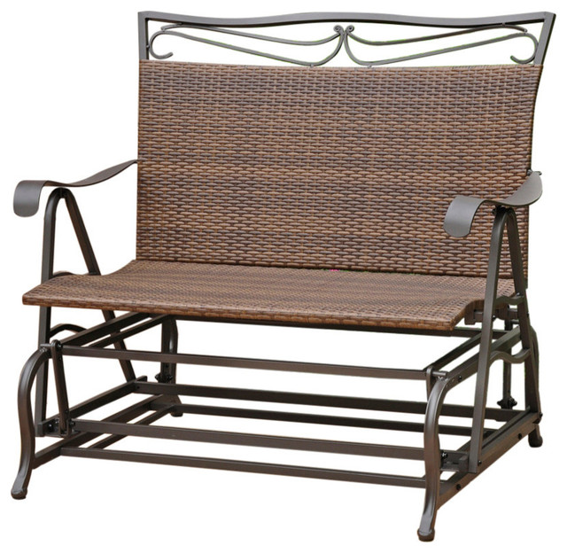 Astounding International Caravan Valencia Patio Glider Loveseat In Antique Brown Onthecornerstone Fun Painted Chair Ideas Images Onthecornerstoneorg