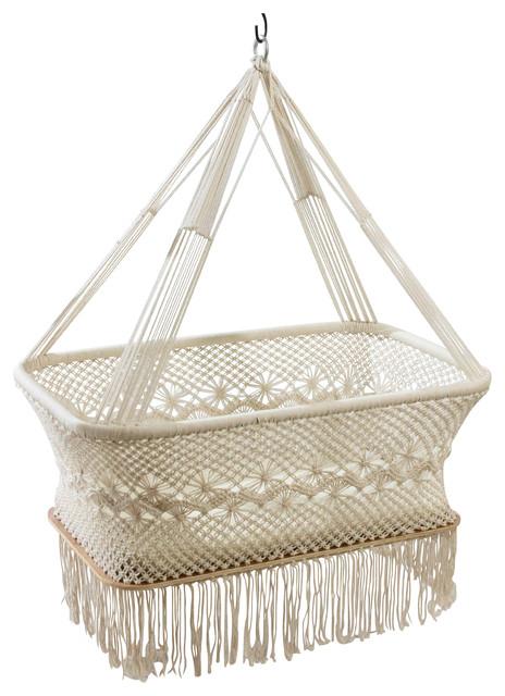 Baby Hanging Binet Crib Cradle White Portable Natural Cotton Handmade