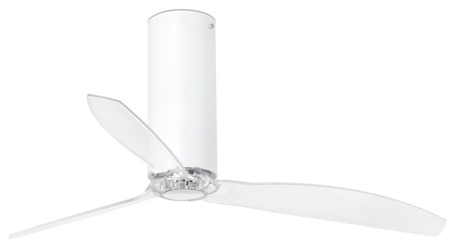 Tube Ceiling Fan, White Gloss With Transparent Blades.