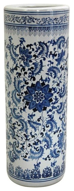 24 Fl Blue And White Porcelain Umbrella Stand
