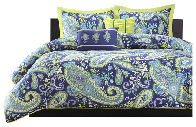 Twin/Twin XL 5-Piece Paisley Comforter Set, Blue And