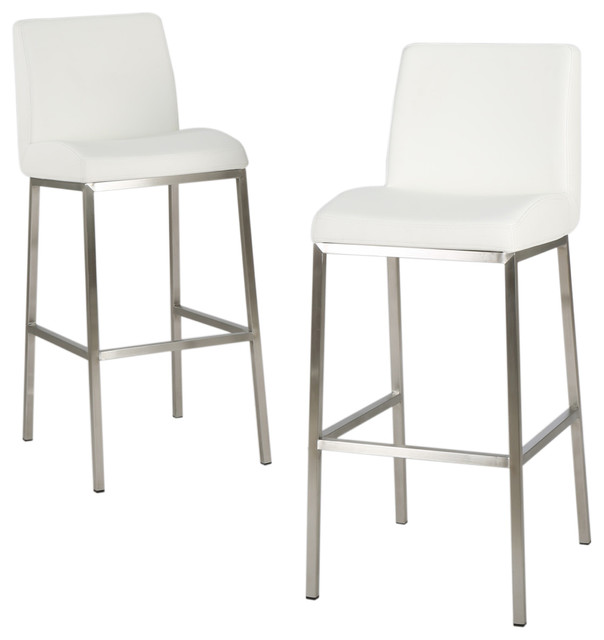 jalen leather bar stools, set of 2, white - contemporary - bar