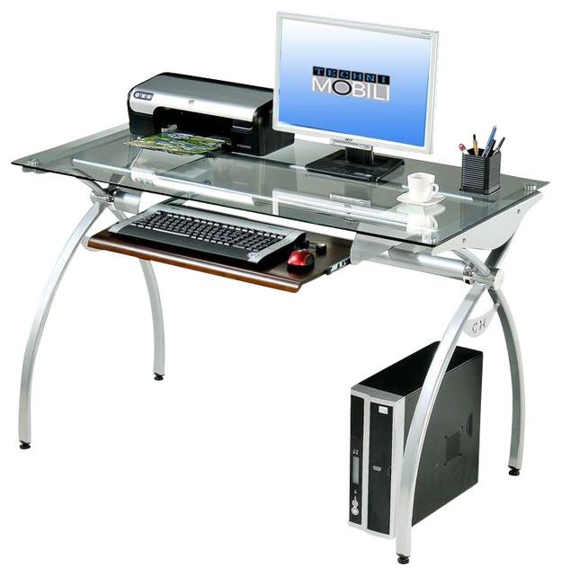 Techni Mobili Glass-Top Computer Desk In Clear.