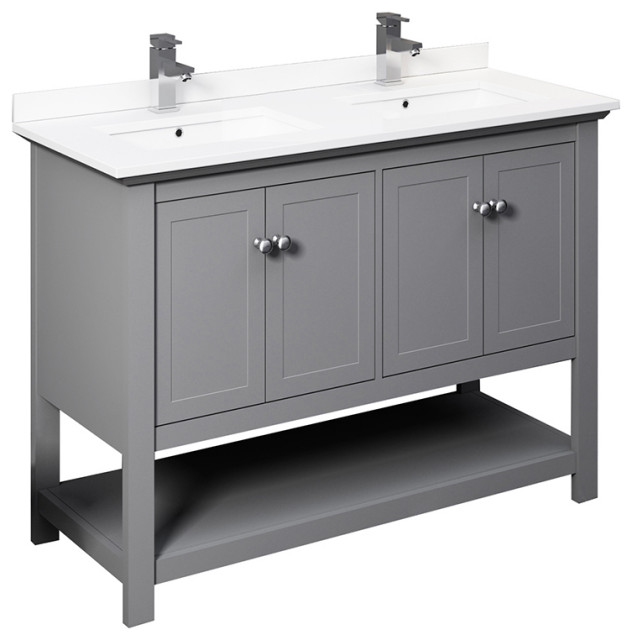 """Fresca Manchester 48"""" Gray Double Sink Cabinet, Top and Sinks"""