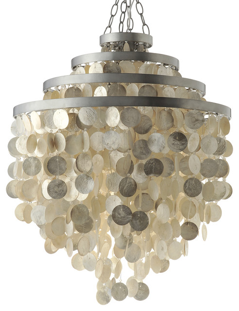 Round Chandelier With Capiz Shells Champagne