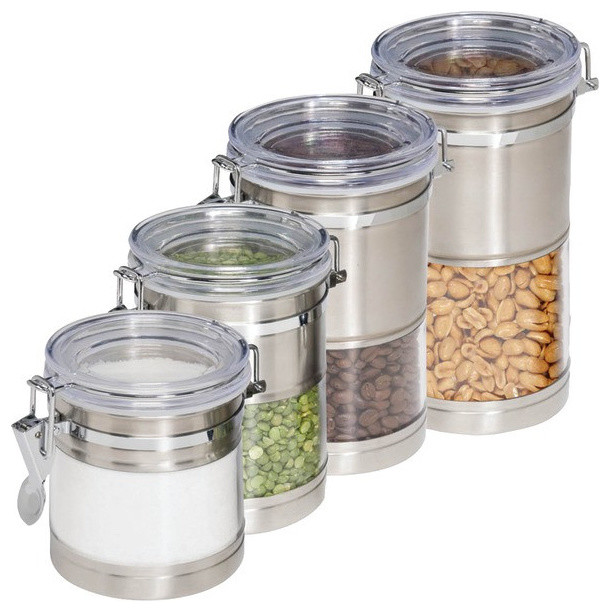 Stainless Steel U0026 Acrylic Canisters, 4 Pack Kitchen Canisters And Jars