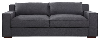 Linen Goose Feather Sofa With Wide Track Armrest, Dark Gray